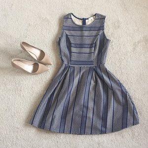 Navy blue and cream dress